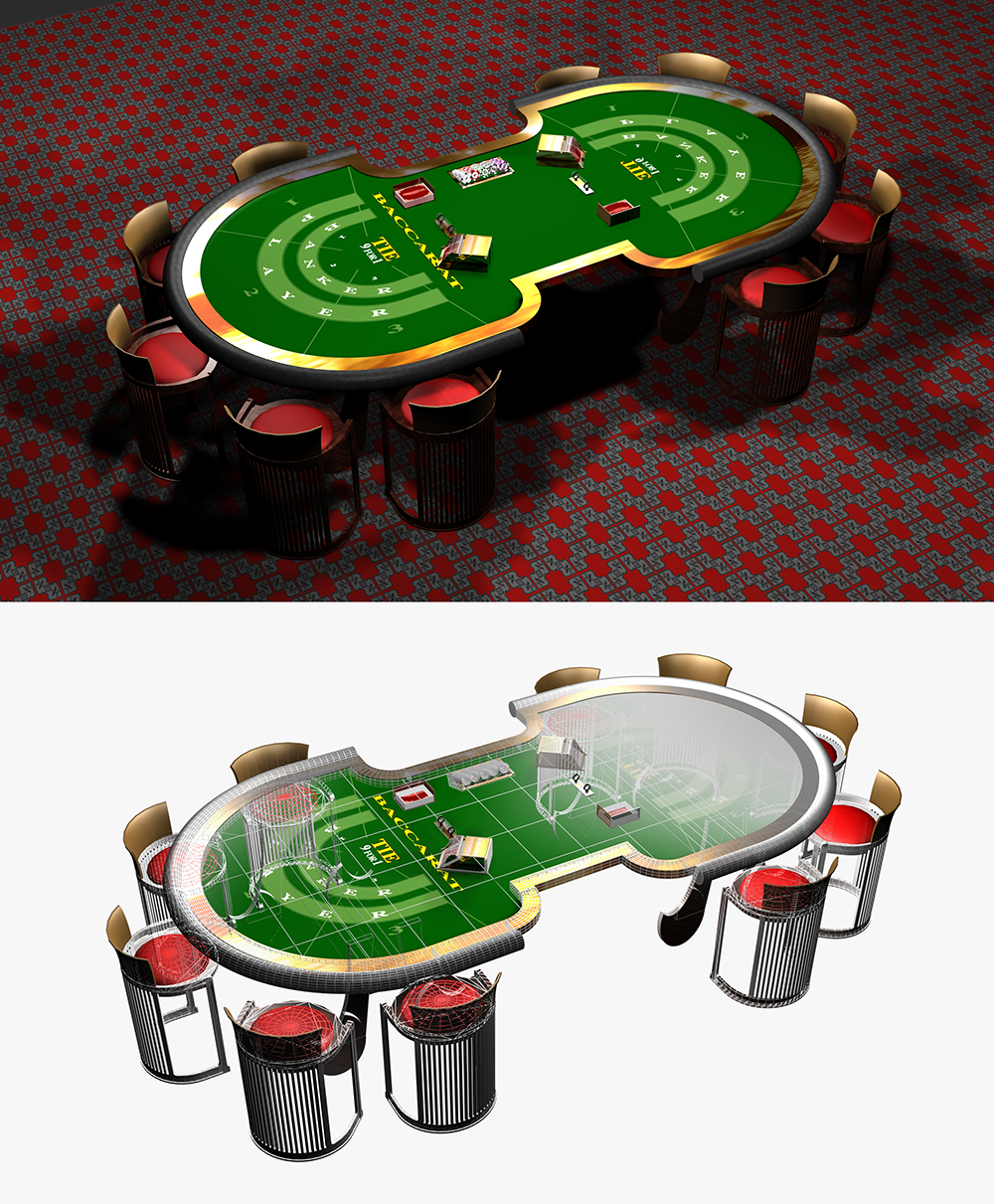 3D Casino Baccarat Table
